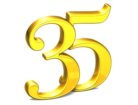 3D Gold Thirty-Five on white background Stock Photo - 18247335