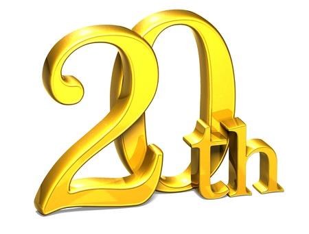 twentieth: 3D Gold Twentieth on white background  Stock Photo