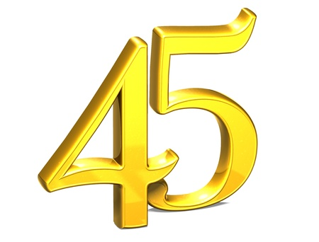 3D Gold Forty-Five on white background Stock Photo - 18247329