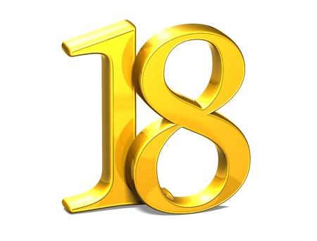 3D Gold Eighteen on white background  Standard-Bild