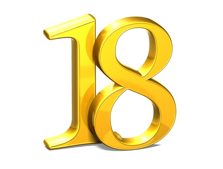 eighteen: 3D Gold Eighteen on white background  Stock Photo