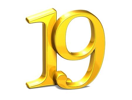 3D Gold Nineteen on white background Stock Photo - 18247354