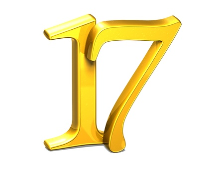 seventeen: 3D Gold Seventeen on white background