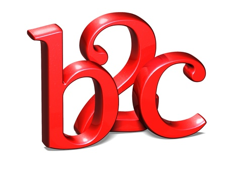 b2c: 3D Red B2C on white background  Stock Photo