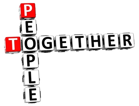 3D People Together Crossword on white background photo