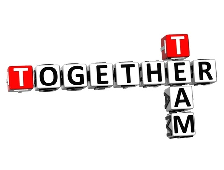 3D Together Team Crossword on white background photo