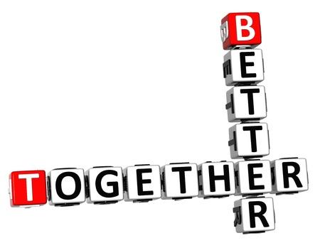 3D Better Together Crossword on white background Standard-Bild