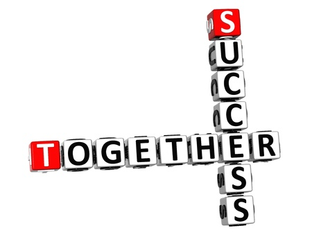 3D Together Success Crossword on white background photo