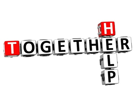 3D Help Together Crossword on white background Stock Photo - 18282469