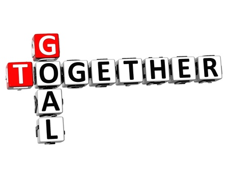 3D Goal Together Crossword on white background photo