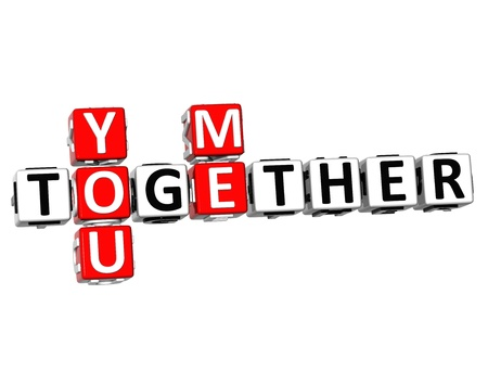 3D You Me Together Crossword on white background photo