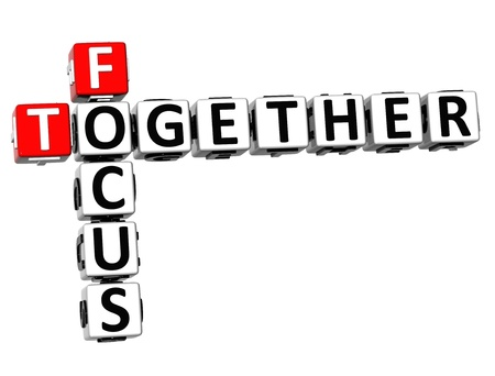 3D Focus Together Crossword on white background photo