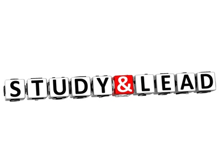 3D Study And Lead Button Click Here Block Text over white background photo