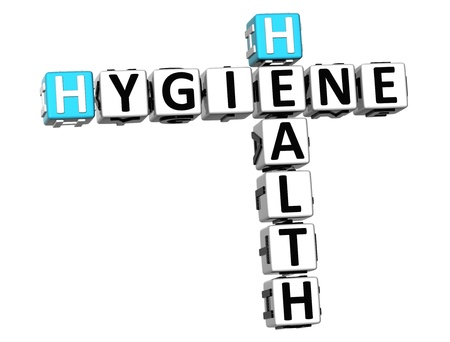 3D Hygiene Health Crossword on white background Stock Photo - 18282474
