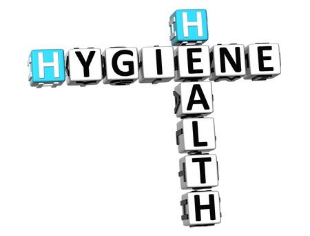 3D Hygiene Health Crossword on white background Stock Photo - 18282474