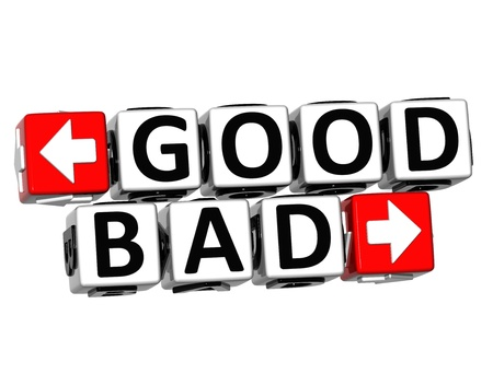 3D Good Bad Button Click Here Block Text over white background  Stock Photo - 18302208