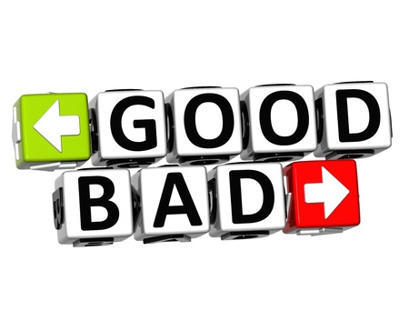 3D Good Bad Button Click Here Block Text over white background  photo