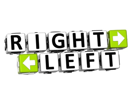 3D Right Left Button Click Here Block Text over white background  photo