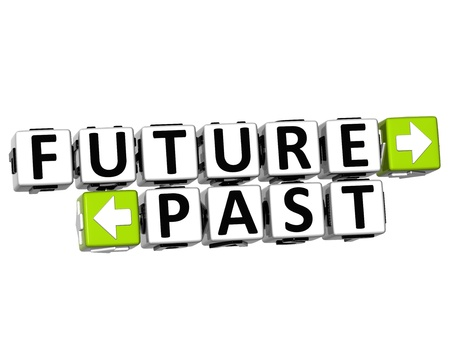 3D Future Past Button Click Here Block Text over white background  photo