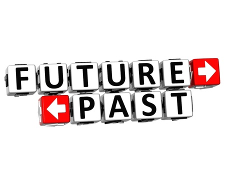 3D Future Past Button Click Here Block Text over white background  Stock Photo - 18302182