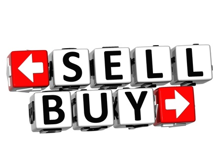 3D Sell Buy Button Click Here Block Text over white background  Stock Photo - 18302199