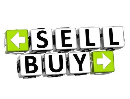3D Sell Buy Button Click Here Block Text over white background Stock Photo - 18302191