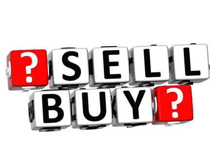 3D Sell Buy Button Click Here Block Text over white background Stock Photo - 18302201