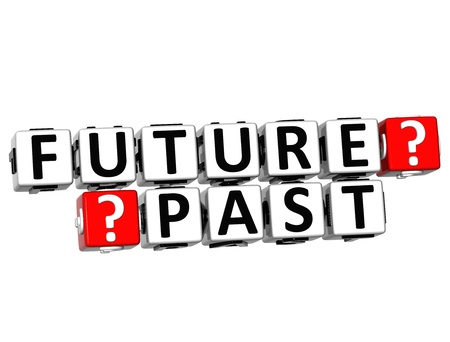 3D Future Past Button Click Here Block Text over white background Stock Photo - 18302183