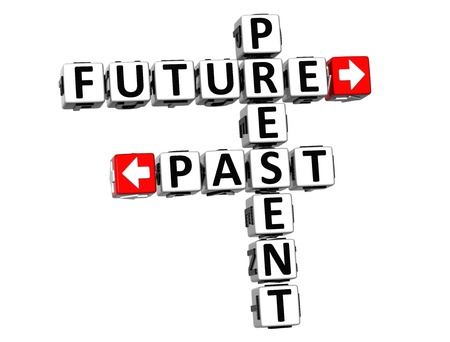 3D Present Future Past Crossword on white background Stock Photo - 18302180