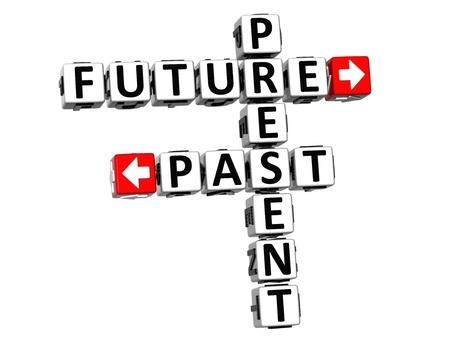 3D Present Future Past Crossword on white background Stock Photo - 18302180