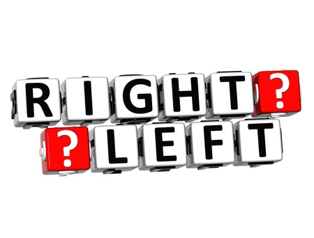 3D Right Left Button Click Here Block Text over white background Stock Photo - 18302190