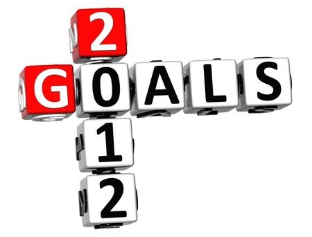 3D Goals 2012 Crossword on white background Stock Photo - 18302185