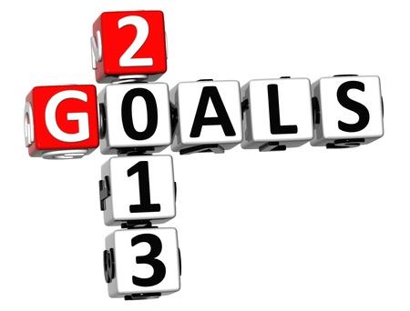 3D Goals 2013 Crossword on white background Stock Photo - 18302184