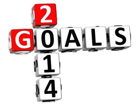 3D Goals 2014 Crossword on white background Stock Photo - 18302192