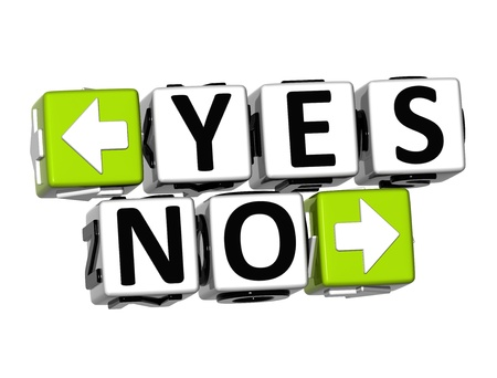 3D Yes No Button Click Here Block Text over white background  photo