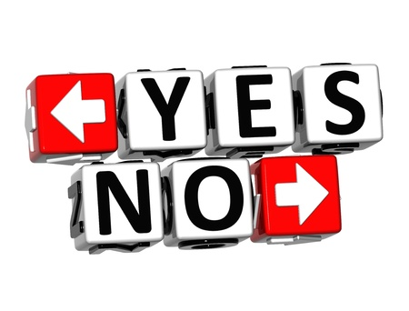 3D Yes No Button Click Here Block Text over white background Stock Photo - 18302200