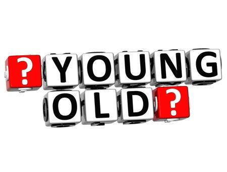 jeune vieux: 3D Button Jeunes Vieux Cliquez ici bloc de texte sur fond blanc