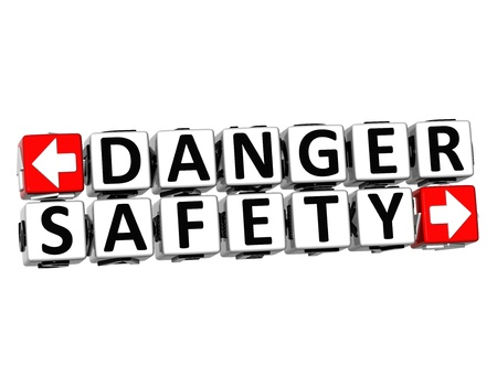 3D Danger Safety Button Click Here Block Text over white background Stock Photo - 18341146