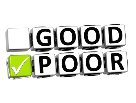 3D Good Poor Button Click Here Block Text over white background Stock Photo - 18341150