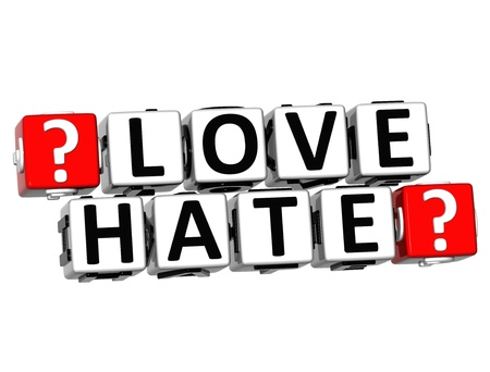 3D Love Hate Button Click Here Block Text over white background photo