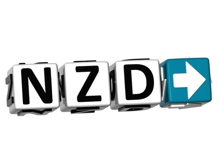 3D New Zeland Dollar Currency NZD Button Click Here Block Text over white background Stock Photo - 18370615