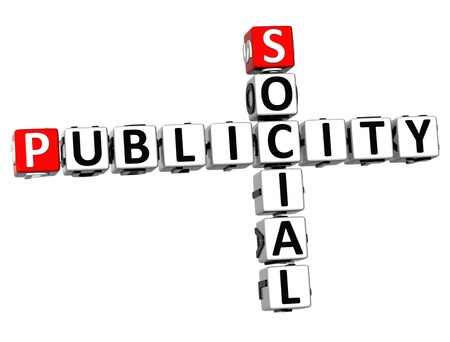 3D Social Publicity Crossword on white background photo
