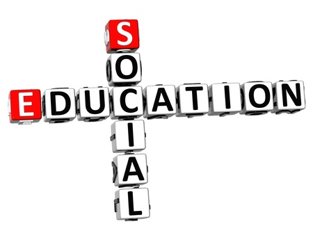 3D Social Education Crossword on white background photo