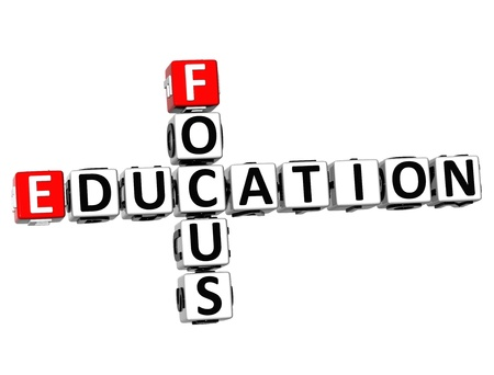 3D Focus Education Crossword on white background photo