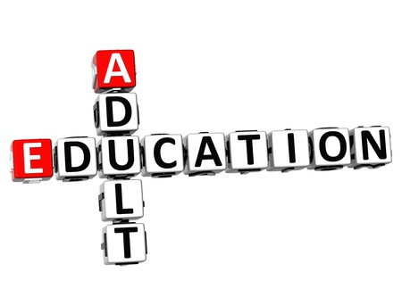 adult education: 3D Adult Education Crossword on white background