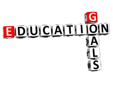 3D Goals Education Crossword on white background photo