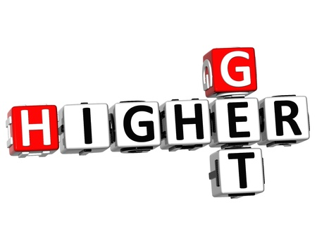 3D Get Higher Crossword on white background photo