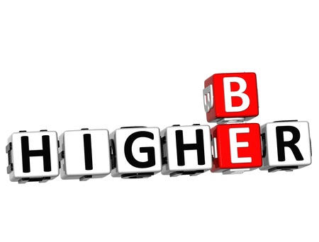 3D Be Higher Crossword on white background photo