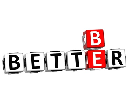 3D Be Better Crossword on white background photo