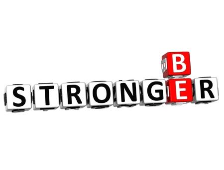 stronger: 3D Be Stronger Crossword on white background